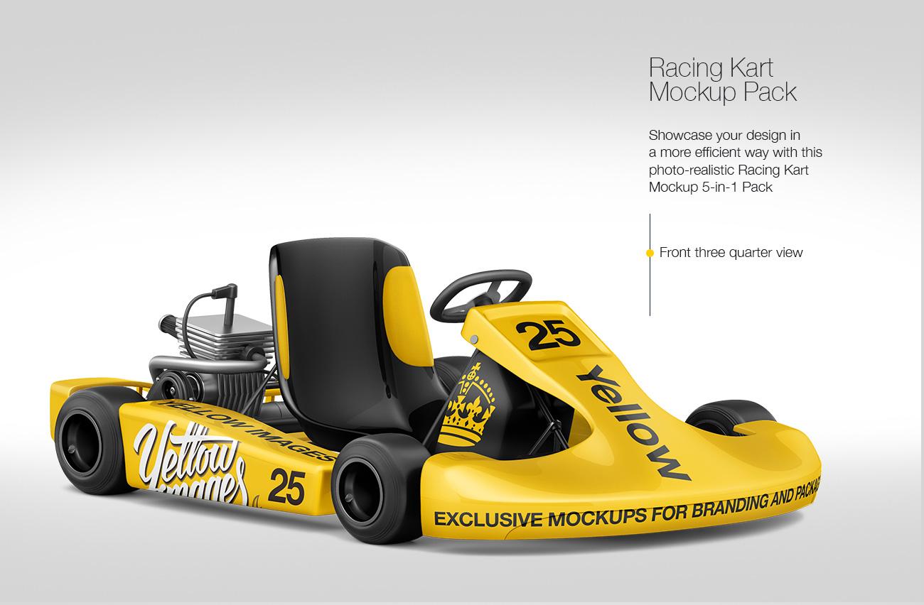 Racing Kart Mockup Pack: 5-in-1 Pack