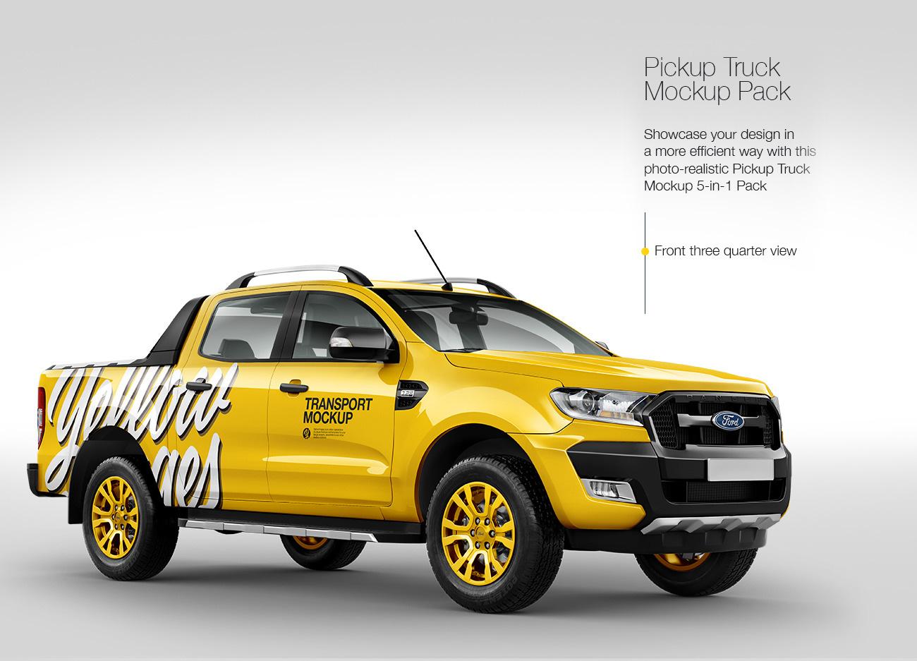 Pickup Truck Mockup Pack: 5-in-1 Pack