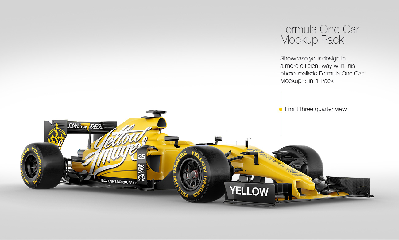Formula One Car Mockup Pack: 5-in-1 Pack
